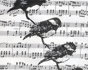 Music Paper Art Print. Birds. Original hand-printed block prints, black-capped chickadees, by Jesse Larsen.