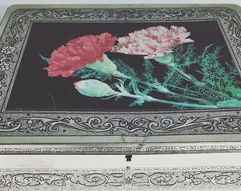 AMAZING Antique Tin Box, distressed, old, vintage with flowers flower floral print