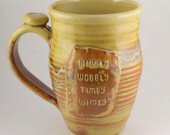 Wibbly Wobbly Timey Wimey mug, red gold, #90, 20oz