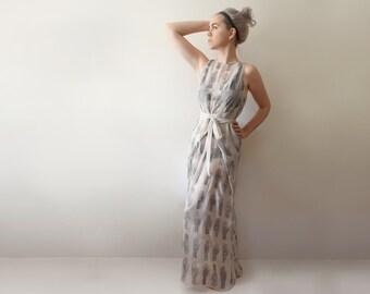 UNIQUE ITEM - Hand Printed Sheer Chiffon Wrap Dress - 'Tarot' print - Ivory