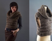 Vests for Women, Chunky knit cowl neck sweater, chunky knit sweater, crochet cropped sweater, chunky knit non-wool sweater, knit vests