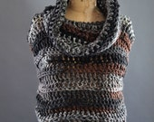 Cowl neck Vest, sweater vest for women, knitwear, outerwear, sweater, non wool sweater, vest with hood and cowl, earth tone browns, crochet