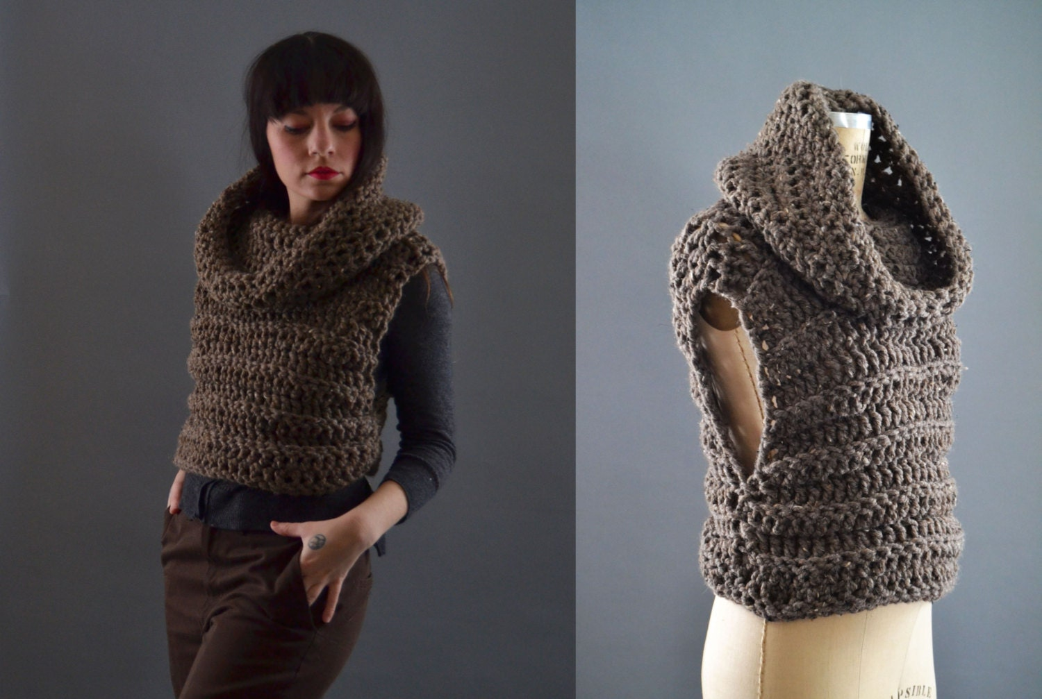Vests For Women Chunky Knit Cowl Neck Sweater Chunky Knit