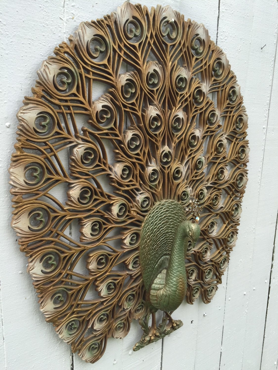 Sale Large Wall Peacock Wall Hanging 33 X 30 X 5 Syroco