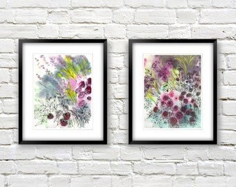 Modern Floral Art Prints - Art Print Set of 2 - Watercolor Flowers - Colorful Wall Art