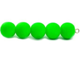 20 Green Rubberized Beads - 10mm Beads, B1022