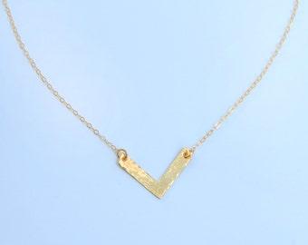 Golden Chevron V Necklace