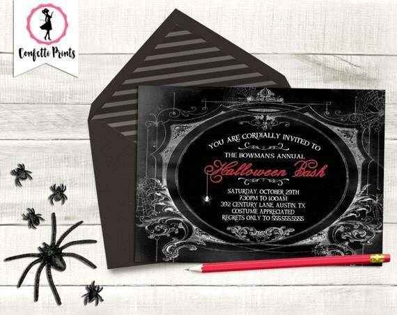 Adult Halloween Party | Gothic Invitation | Halloween Party Invitation - HOUSE On HAUNTED HILL | Costume Party | Printable