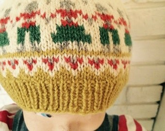 Adorable Vintage Knitted Toddler Wool Cap/Beanie With Repeat Pattern - Two Caps Available; Sold Separately