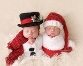Snowman felted top hat~Felted Newborn Hat ~Top Hat~Knit and felted top hat~Baby Top Hat~Infant photography props