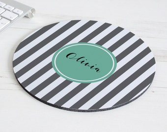 Stripe Print Mouse Mat – personalised mouse pad – round mousepad – desk decor - personalized graduation gift - coworker gift - p16