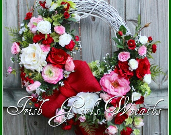 MADE TO ORDER Pink and Red Spring Valentine Rose Garden Wreath, Cottage, Large, Summer