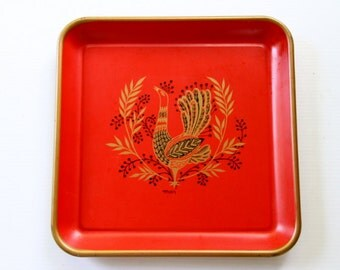 Vintage Maxey Peacock Illustrated Tin Metal Tray Platter Painted Red Gold Square Retro Serving Kitchen Decor Modern Bird Design