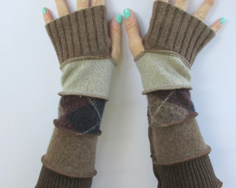 Brown Gloves - Recycled Sweaters -  Upcycled Clothing - Winter Gloves - Long Fingerless Gloves - Gloves with Argyle Print - Wrist Warmers