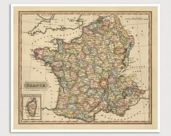 Old France Map Art Print 1817 Antique Map Archival Reproduction