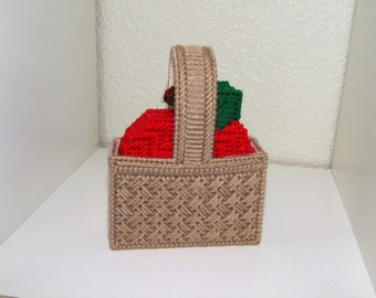 Hand Stitched Plastic Canvas Apples in a Basket Coasters-5 Piece Set
