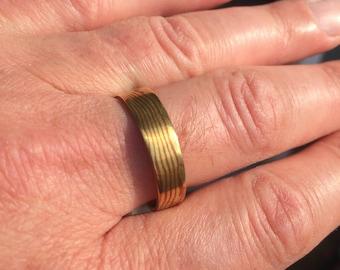 Large Mokume Ring, Brass & Copper, size 13