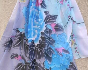 Silk Scarf, Neck Silk Scarf, Chiffon Scarf, Flower Scarf, Womens Scarf, Spring, Gift for her, Womens Gift, Handmade Scarf