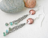 Long Aquamarine Earrings, Copper Aqaumarine Earrings Raw Aquarmarine Earrings Long Dangle Earrings Rough Aquamarine Earrings Long Rustic