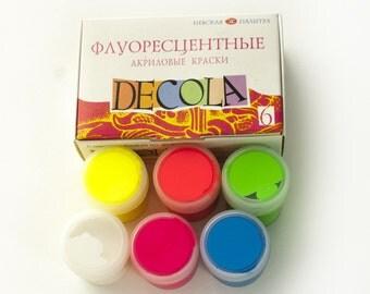Acrylic Paint Fluorescent Set DECOLA Craft 6x20ml RUSSIA Russian