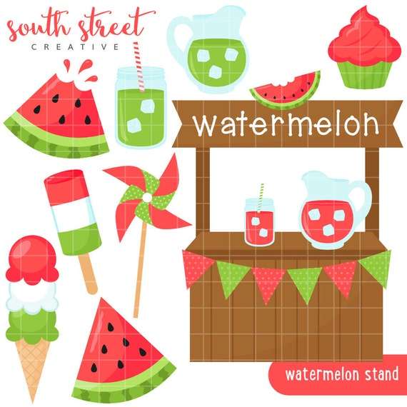 Watermelon Stand Spring Summer Cute Clipart by ...