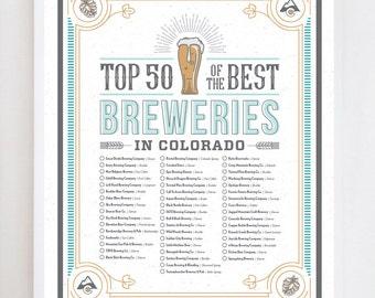 Colorado Brewery Checklist   Wall Art Print Design