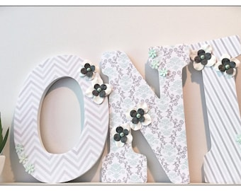 Mint and Gray nursery. Mint and Grey. Wood Nursery Letters. Mint. Chevron. Damask. Girls Nursery Letters. Vintage. Wall letters. Baby letter