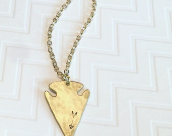 Arrowhead Necklace - Arrow Necklace - Hand Stamped Personalized - Gold Brass Necklace