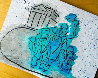 Hitchhiking ghosts painting in watercolor
