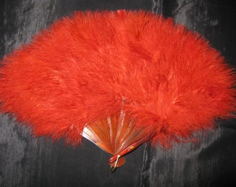 Feather Fans Hand Fan Burlesque Fans Red Plumes 12 inches
