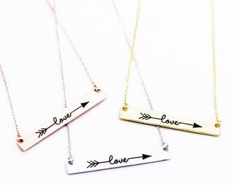 "Tiny Gold Bar ""Love Struck"" Necklace - Dainty, Simple, Birthday Gift, Wedding Bridesmaid Gift"