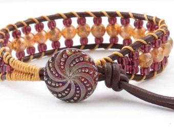 Bohemian leather Cuff Bracelet