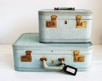 Vintage Luggage Belber Light Blue Sparkle Suitcase Train Case
