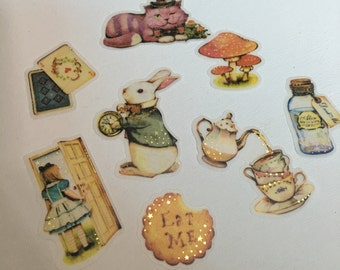 A Pack of 32 pcs 8 Designs Stickers Seal: Alice in Wonderland