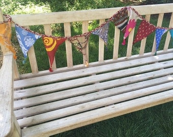 Recycled, Upcycled Sari Prayer Flags, Decorative Flag, Bunting