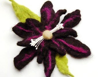Felted flower brooch, black, purple and green flower pin, felt flower hair clip, flower felt pin, corsage, big flower brooch, gifts for her