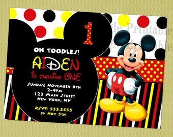 Mickey Mouse Birthday Invitation, Mickey Mouse Invitations, Mickey Mouse Invitations