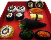 Crocheted Sushi Ornaments, Hair Clips, or Pins