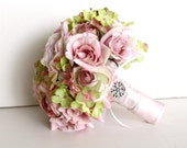 Bridal Bouquet, Wedding Fabric Bouquet, Rhinestone Embellishment, Pink Green Roses Green Pink Hydrangea, Garden - Ready to Ship
