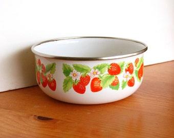 Vintage Kobe Kitchen Bowl - Enamelware Metal Bowl Strawberry Design Made in Japan