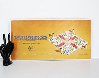 Vintage 1964  Parcheesi Board Game No.2 Gold Seal Edition--India Selchow Righter--60s Collectibles--Vintage Ephemera--Retro--Kitsch