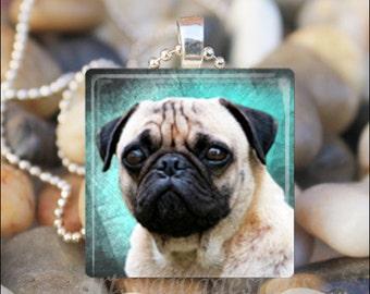 PUG DOG LOVE Pug Cutie Canine Glass Tile Pendant Necklace Keyring - Blue/Green Design