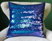 Mermaid Pillow - Purple and Turquoise Reversible Sequin Cushion Throw Pillow Cover, lumbar, euro, BIG sizes available! Color Changing