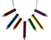 Colouring Pencils necklace - laser cut acrylic