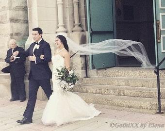 "Soft Sheer Wedding Bridal Veil Floor Chapel Cathedral length Blush Lavender Black Pink Ivory Beige Single Tier 110"" Length Raw Edge"