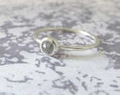 Grey Diamond Ring - 9ct White Gold Ring - Opaque Diamond - Slim Diamond Ring