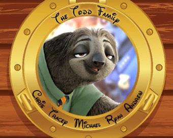 Disney Cruise Magnet Custom Personalized Zootopia Sloth