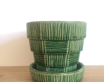 Green McCoy Basketweave Planter