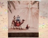 Vintage Unused Christmas Card with Three Wise Men and Star of Bethlehem