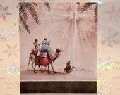 Vintage Unused Christmas Card with Three Wise Men and Star of Bethlehem
